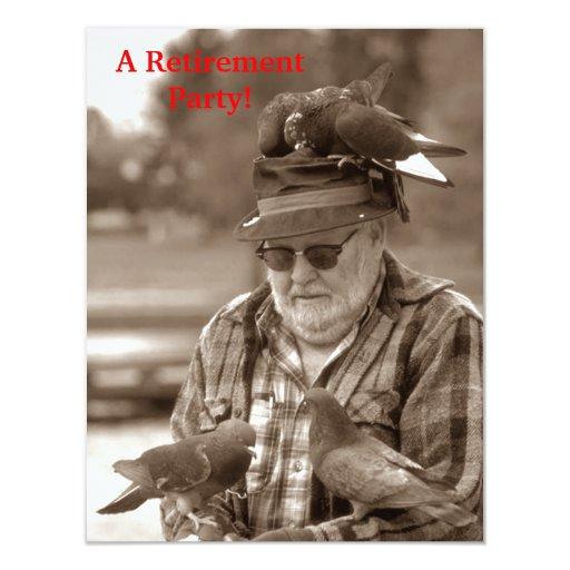 Fun Pigeons Birds Man Retirement Party Invitation