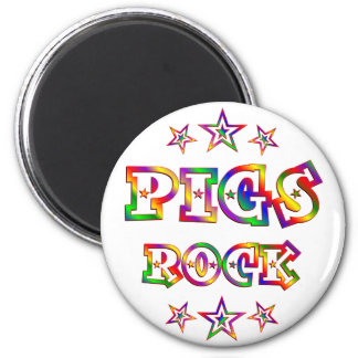 Fun Pigs Rock 2 Inch Round Magnet