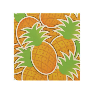 Fun Pineapple Fruit Design Wood Wall Art