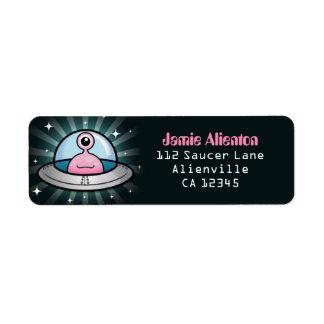 Fun Pink Alien in Flying Saucer Label