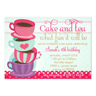 Fun Pink and Blue Cute Cups Tea Birthday Party Personalized Invitations