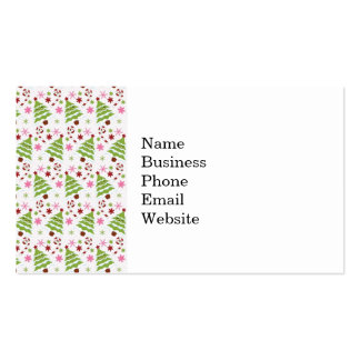 Fun Pink and Green Christmas Tree and Candy Canes Business Card Templates