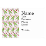 Fun Pink and Green Christmas Tree and Candy Canes Business Card Template