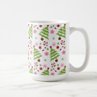 Fun Pink and Green Christmas Tree and Candy Canes Coffee Mug