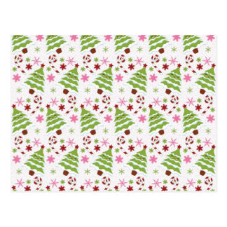 Fun Pink and Green Christmas Tree and Candy Canes Postcard