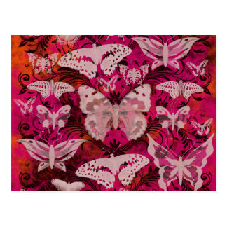 Fun Pink and Orange Butterfly Pattern Postcard
