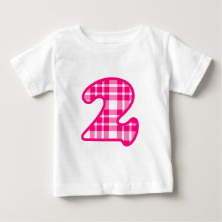 Fun Pink and White Plaid Number 3 THREE A19 Baby T-Shirt