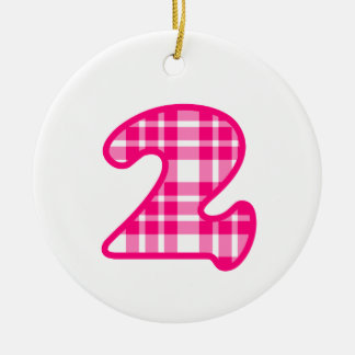 Fun Pink and White Plaid Number 3 THREE A19 Ceramic Ornament