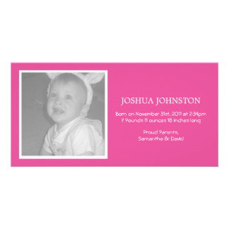Fun Pink Baby Announcements Photo Cards