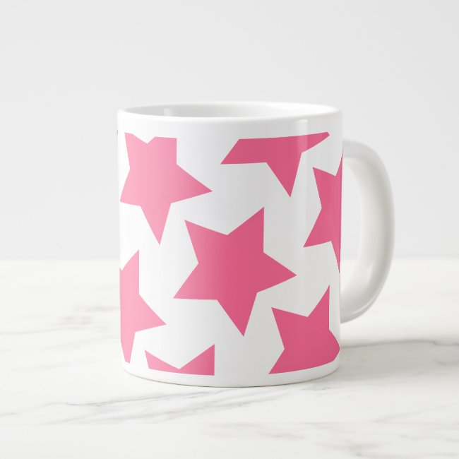 Fun Pink Big Stars Pattern Jumbo Mug