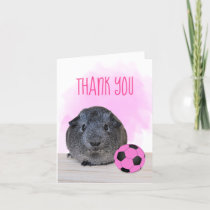 Fun Pink Black Soccer Ball Guinea Pig Thank You Card