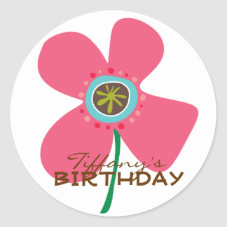 Fun Pink Daisy Pop Girl Birthday Party Sticker