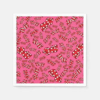 Fun pink dice pattern paper napkin