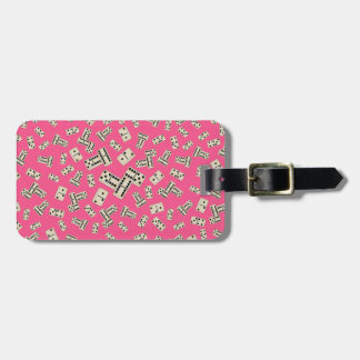 Fun pink domino pattern tags for luggage
