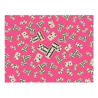 Fun pink domino pattern postcard