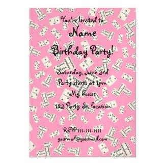 Fun pink domino pattern magnetic invitations