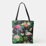 Fun Pink Flamingo Tropical Floral Pattern Tote