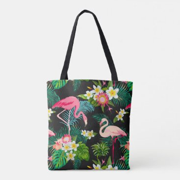 Beach Themed Fun Pink Flamingo Tropical Floral Pattern Tote