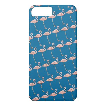Beach Themed Fun Pink Flamingos on Parade on Blue or Pick Color iPhone 7 Plus Case