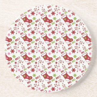 Fun Pink Green and Red Stocking Pattern Coasters