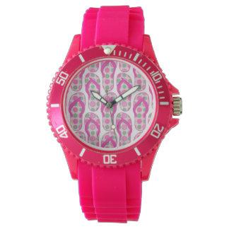 Fun pink & green polka dotted flip flop design! watches