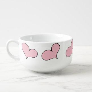 Fun Pink hearts soup bowl Soup Mug