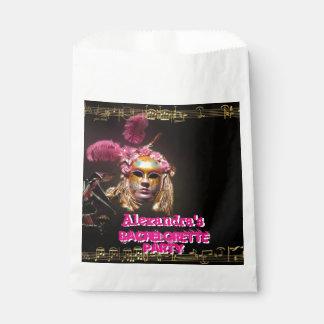 Fun pink masquerade girl bachelorette party favor bag