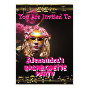 fun pink masquerade girl bachelorette party invitation
