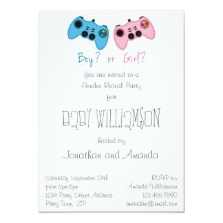 Fun Pink n Blue Game Controller Baby Gender Reveal Personalized Invites