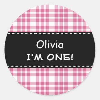 Fun Pink Plaid Girl 1st Birthday Round Sticker