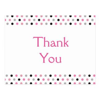 Fun Pink Polka Dots Thank You Postcard
