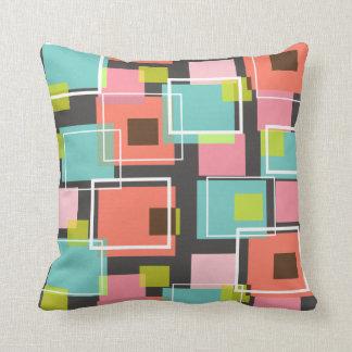 Fun Pink Retro Cubes Pattern Art Pillow Cushion
