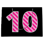 "[ Thumbnail: Fun Pink Striped ""10""; Happy 10th Birthday; Name Gift Bag ]"
