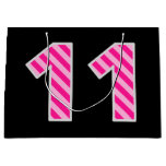 "[ Thumbnail: Fun Pink Striped ""11""; Happy 11th Birthday; Name Gift Bag ]"