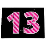 "[ Thumbnail: Fun Pink Striped ""13""; Happy 13th Birthday; Name Gift Bag ]"