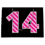 "[ Thumbnail: Fun Pink Striped ""14""; Happy 14th Birthday; Name Gift Bag ]"