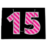 "[ Thumbnail: Fun Pink Striped ""15""; Happy 15th Birthday; Name Gift Bag ]"