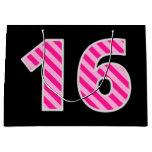 "[ Thumbnail: Fun Pink Striped ""16""; Happy 16th Birthday; Name Gift Bag ]"