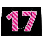 "[ Thumbnail: Fun Pink Striped ""17""; Happy 17th Birthday; Name Gift Bag ]"