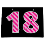 "[ Thumbnail: Fun Pink Striped ""18""; Happy 18th Birthday; Name Gift Bag ]"