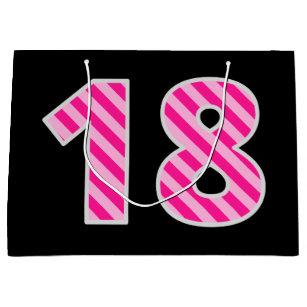 Fun Pink Striped 18 Happy 18th Birthday Name Large Gift Bag