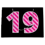 "[ Thumbnail: Fun Pink Striped ""19""; Happy 19th Birthday; Name Gift Bag ]"