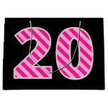 "[ Thumbnail: Fun Pink Striped ""20""; Happy 20th Birthday; Name Gift Bag ]"