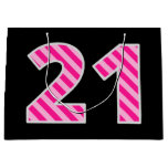 "[ Thumbnail: Fun Pink Striped ""21""; Happy 21st Birthday; Name Gift Bag ]"