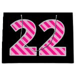 "[ Thumbnail: Fun Pink Striped ""22""; Happy 22nd Birthday; Name Gift Bag ]"