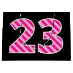 "[ Thumbnail: Fun Pink Striped ""23""; Happy 23rd Birthday; Name Gift Bag ]"