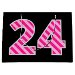 "[ Thumbnail: Fun Pink Striped ""24""; Happy 24th Birthday; Name Gift Bag ]"