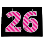 "[ Thumbnail: Fun Pink Striped ""26""; Happy 26th Birthday; Name Gift Bag ]"