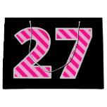 "[ Thumbnail: Fun Pink Striped ""27""; Happy 27th Birthday; Name Gift Bag ]"