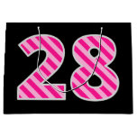 "[ Thumbnail: Fun Pink Striped ""28""; Happy 28th Birthday; Name Gift Bag ]"